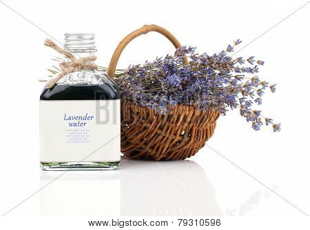 Dry Lavender Flower In A Basket With Lavender Water