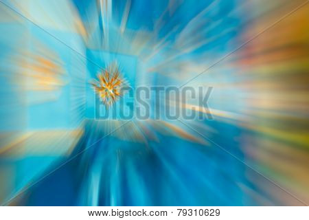 Blue,gold Color Stripe Radial Motion Blur Abstract