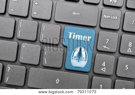 Blue timer key on keyboard