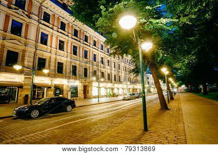 Night view of Pohjoisesplanadi street in Helsinki