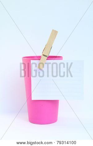 Paper Note On Pink Cup
