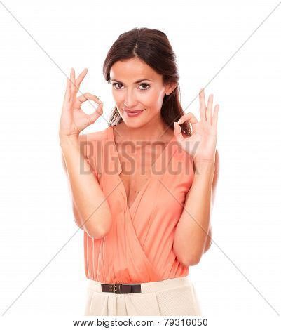 Charming Young Woman Gesturing A Great Job