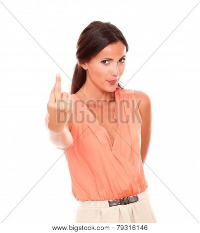 Attractive Latin Woman With Crossing Fingers