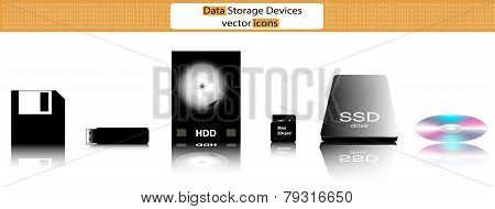 Data Storage Devices Vector Illustration