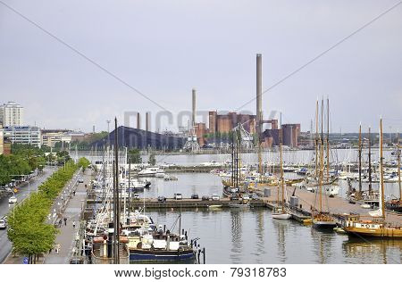 HELSINKI-AUGUST 23: Harbour from Helsinki in Finland on august 23
