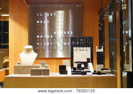 GENEVA - SEP 15: showcase in jewellery store on September 15, 2014 in Geneva, Switzerland. Geneva is the second most populous city in Switzerland and is the most populous city of Romandy