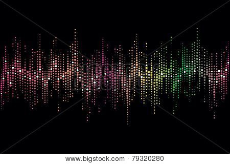 Halftone colorful sound wave pattern modern music design element