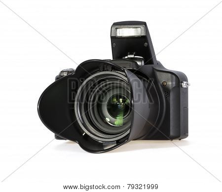 Black Digital Photo Camera On White Background
