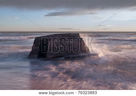 Latvian Baltic Sea Coast With Blockhouses