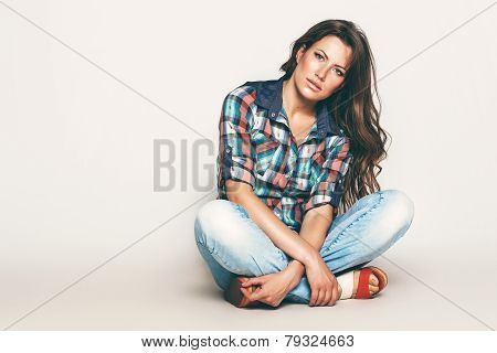 Sensual Sitting Woman In Check Shirt