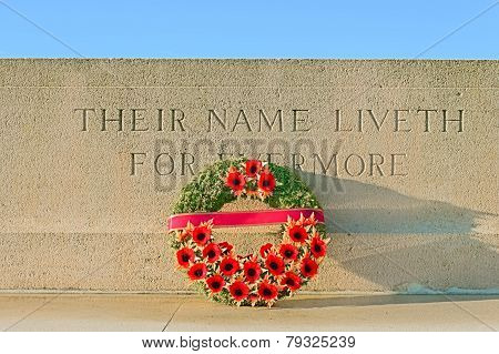Monument World War One With Wreath Of Poppies