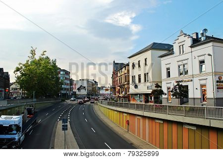 Diez City Limburger Street Sunny Day View. Germany.