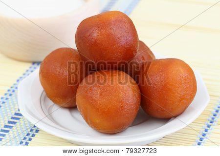 Gulab jamun dessert, closeup