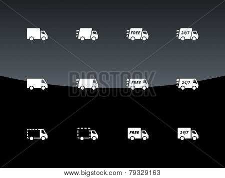 Commercial van icons on black background.