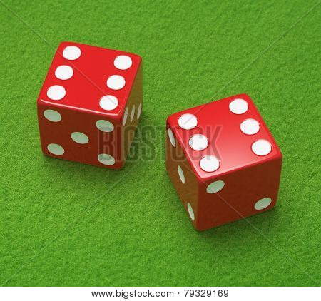 Red dice on green cloth