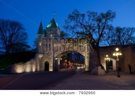 Quebec  City Fortified Wall At Dusk