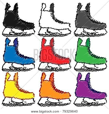 Ice Skates In Different Colours Purple Pencil Style 1