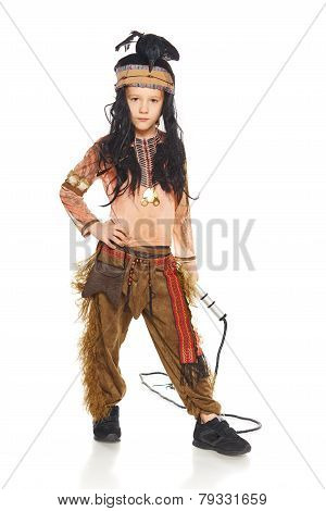 Little boy wearing indian costume
