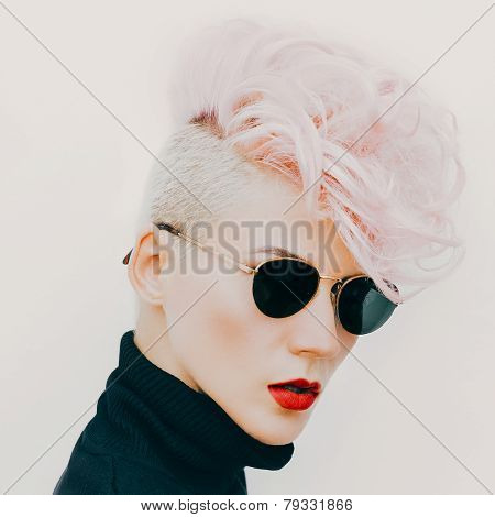 Blond Model In Vintage Glasses With Stylish Haircut. Fashion Photo