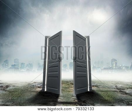 White door on dark city background