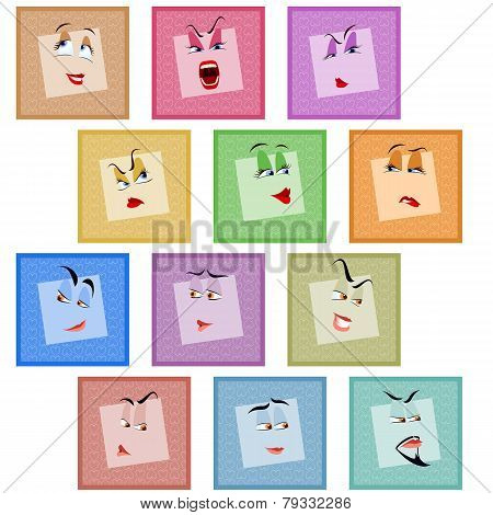 Smile Avatar Icon Sticker Emotion Valentines Face Set