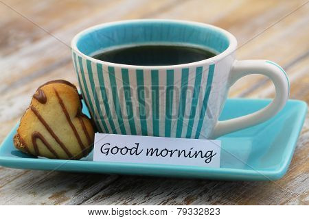 Good morning card with cup of coffee and heart shaped biscuit