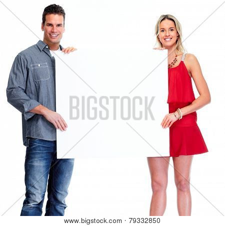 Happy couple with banner isolated white background