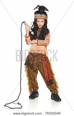 Little boy wearing indian costume