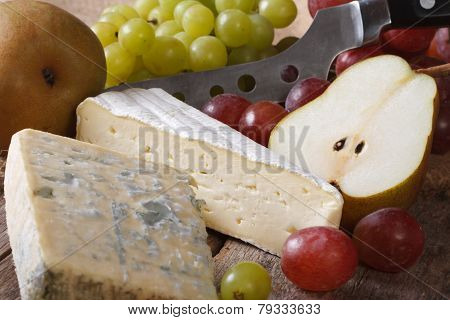 Molded Cheese, Grapes And Pears Close-up. Horizontal