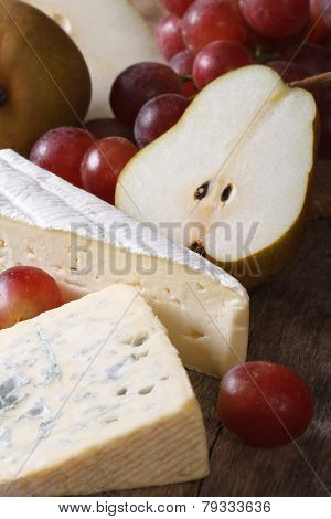 Molded Cheese, Red Grapes And Pears Vertical