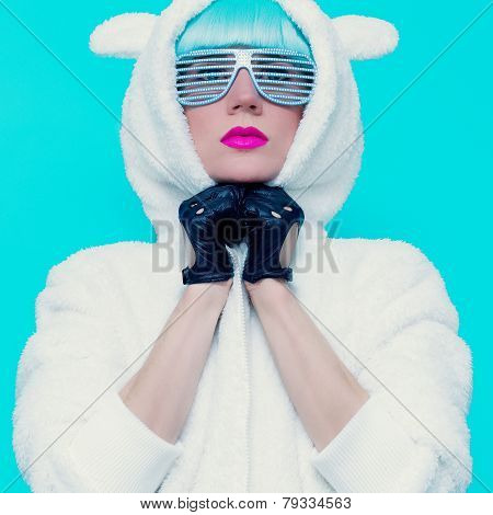 Fashion Girl In Hoodie Teddy Bear On A Blue Background. Vanilla Style
