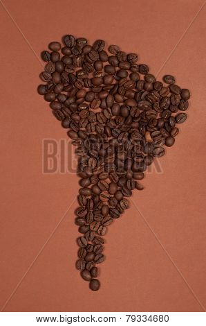 South America Continent Map Made Of Coffee Beans