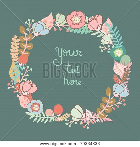 Greeting Card With Floral Wreath