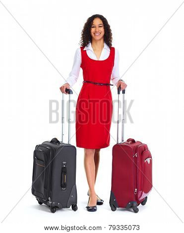 Young business woman with suitcase isolated white background