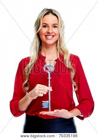 Woman with a home key isolated on white background