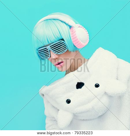 Teddy Bear Girl Dj On A Blue Background. Crazy Party. Club Dance Style