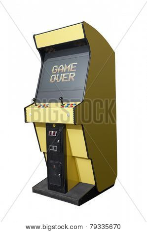 Game over message on a retro arcade isolated on white