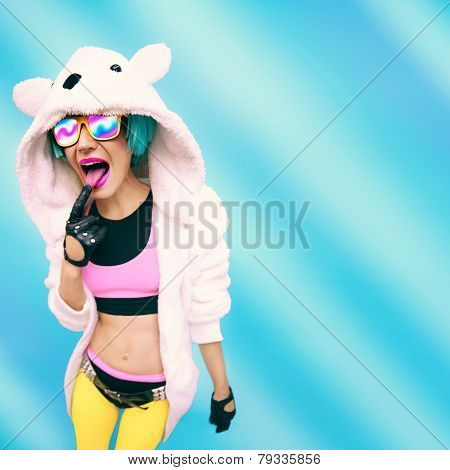 Crazy Party Girl In Hoodie Bear On A Blue Background. Positives Emotions