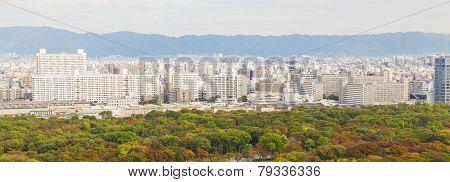 Panoramic View Of Osaka City, Japan