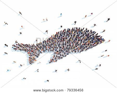 People in the form of a whale.