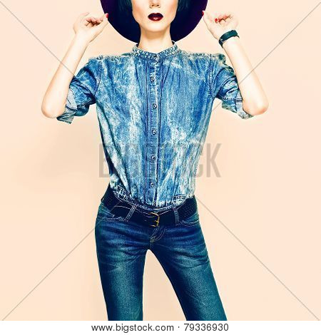 Denim Style. Glamorous Lady In Clothing Trend