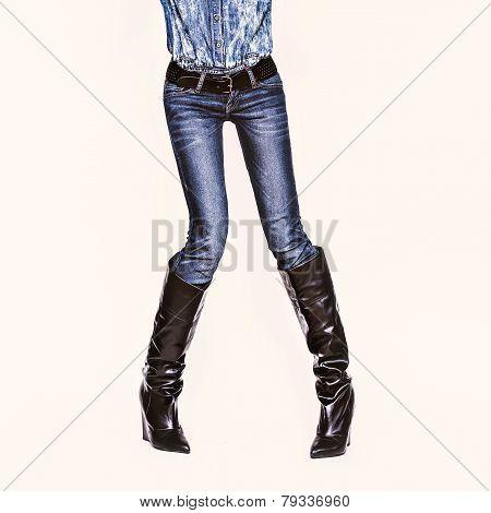 Glamorous Jeans Style. Fashion Lady On White Background