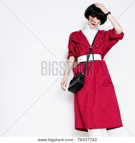 Glamorous Lady In Fashionable Red Vintage Coat On A White Background