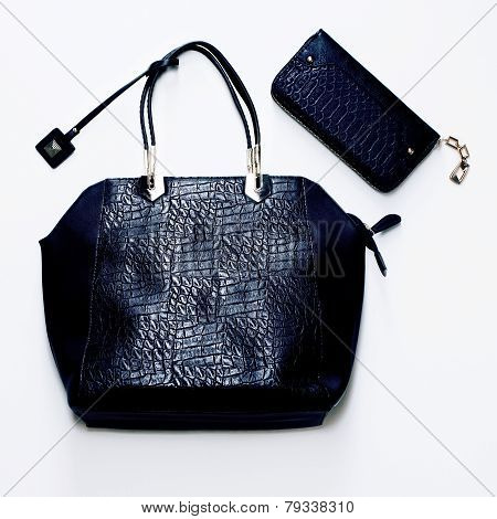 Fashion Glamorous Ladies Bag Of Crocodile Skin. Luxurious Style
