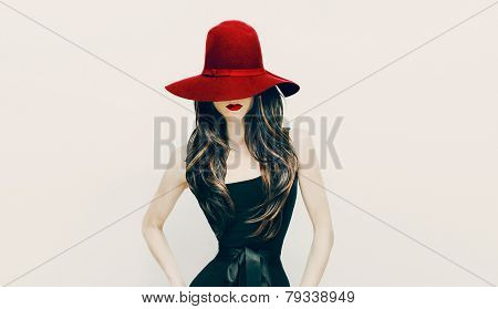 Fashion Brunette Lady In Red Hat And Red Lips On White Background