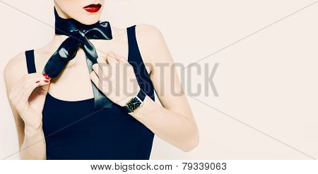 Gift For Sensual Lady. Fashion Accessories, Watches And Black Satin Bow.