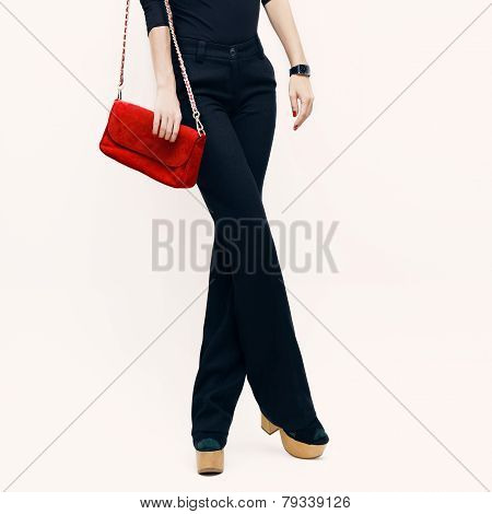 Lady In Classic Black Trousers And Black Blouse With A Red Clutch. Fashion Accessories