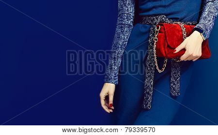 Portrait Glamorous Lady. Fashion Accessories. Watches And Red Clutch On Blue Background