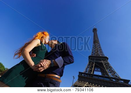 pretty young enamoured and beauty caucasian couple in Paris