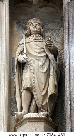 VIENNA, AUSTRIA - OCTOBER 10: Statue of saint at St Stephans Cathedral in Vienna, Austria on October 10, 2014
